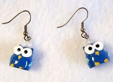 Owl Earrings Blue Whimsical Kitschy Solid Plastic Pierced Hook