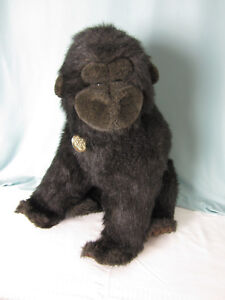 Vintage 1988 Gund Collectors Classic Gorilla Black Plush Stuffed Animal  Leather