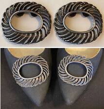 Large Vintage Midcentury Musi Feather Textured Swirl Oval Silver Tone Shoe Clips