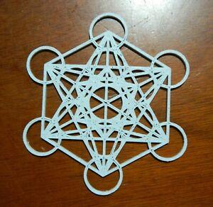 5 Inch Metatron's Cube Sacred Geometry Grid 3 D Granite Resin Altar Tool  (Read)