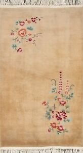Vintage Floral Vegetable Dye Art Deco Chinese Oriental Area Rug Handmade 3x5 ft