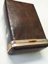 vintage brown textured leather cigarette case