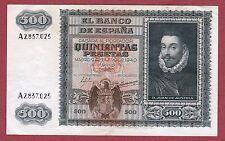 SPAIN. 500 Pesetas 1940 Serie: A ( MBC+ / VF+ )