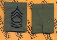 US Army Enlisted MASTER SERGEANT MSG E-8 OD Green & Black slip on rank patch