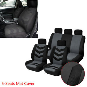 Car 9 Pcs Breathable & Cool Seat Cover Full Front Seat Mat Pad 5-Seats Protector