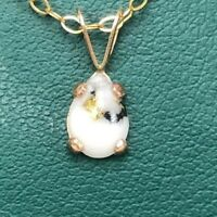 """Necklace Gold in Quartz Necklace  Pear Shaped 18"""" GFGold Chain"""