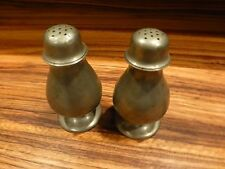 """Great Pair of antique pewter salt and pepper shakers 4 1/2"""" tall [Y8-W6-A9]"""