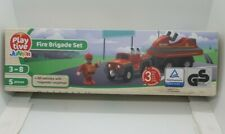 Playtive Junior Wooden Fire Brigade Dept set for Wooden Rail Train & Road Sets