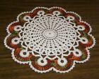 Crochet Doily Thanksgiving Fall Scallops Ecru Natural Multicolor 10' new