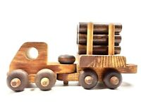 Vintage Wood Toy Truck With Trailer And Logs Handcrafted