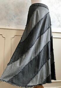 NEW+TAGS - KLASS Two Tone Grey 100% Cotton Denim Flared Autumn Maxi Skirt S 10