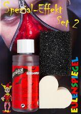 Eulenspiegel Spezial-Effekt Set 2 mit Filmblut dunkel 50 ml, Bartstoppelschwamm