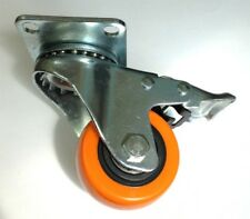 "4PK Heavy Duty 2.5"" Caster All Swivel Plate Polyurethane Brake Locking Wheels"