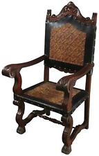 ARM CHAIR RENAISSANCE CASTLE LIONS EMBOSSED LEATHER MAHOGANY WOOD BROWN BL