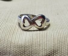 Sterling silver two heart ring size 8