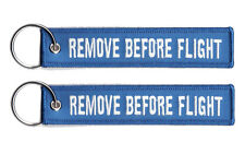 2 REMOVE BEFORE FLIGHT LUGGAGE KEYCHAIN TAG KEY RING PILOT CABIN CREW WHITE/BLUE