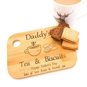 Personalised Father's day tea, coffee & biscuits treat board with message. Gift