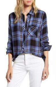 NWT Rails Hunter shirt Midnight Blue Pink Top  long sleeves Rayon