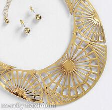 Necklace and Earring SET Gold Tone Sunrise Flower Bib NWOT
