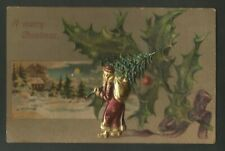 Vintage Christmas  Postcard with Attached Santa Claus