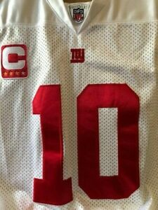 NFL Manning  Reebok NEW YORK GIANTS Captain Jersey White, Red - Adult Size 50