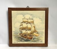 Vintage Framed Tile Of A Fregat 1750 Made In Holland Boat Nautical