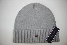 NWT TOMMY HILFIGER Men's Gray Logo Cotton/Cashmere FISHERMAN Ribbed Knit Hat OS