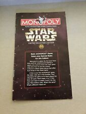1997 Star wars Monopoly Limited Collectors Edition instructions only