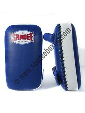 Sandee Small Extra Thick Blue & White Synthetic Leather Flat Thai Kick Pads