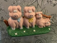 Vintage Decorative Cast Iron Door Stop PIG's 4 Cute Little Piggies