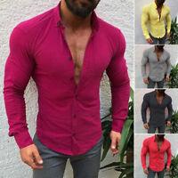 Stylish Men Slim Fit Dress Shirts Long Sleeve T-Shirts Casual Soft V Neck Tops