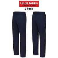 Mens Hard Yakka Elastic Waist Work Pants 2 PACK Cotton Drill Trade Job Y02560