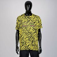 GUCCI 780$ Oversize Yellow Tiger Pattern T-Shirt With Vintage Gucci Logo Print