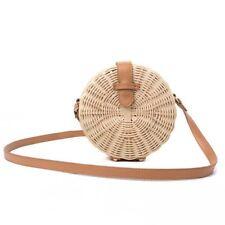 Women Straw Bag Bohemian Bali Rattan Beach Handbag Small Circle Lady Vintag H1D7