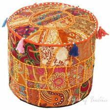 Indian Handmade Round Foot Stool Throw Boho Living Cotton Patchwork Pouf Cover