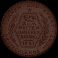 BERLIN: 15 Mark 1921, Porzellan. REICHSAUSSCHUSS FÜR LEIBESÜBUNGEN - SPORT.