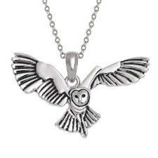 Beautiful Flying Barn Owl Pendant & Chain. Gift Boxed.