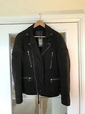 All Saints Kenji Leather Jacket BRAND NEW TAGS SMALL Washed Black