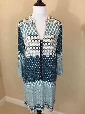 NEW With Tags Women's ZARA Blue/White Pattern Tunic Dress Size Small