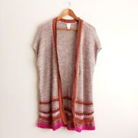 Chico's Open Front Short Sleeve Cardigan Sweater Size 2 = Large Women's Tan Pink