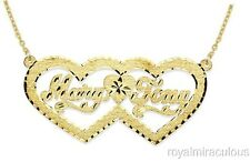 Personalized Double Heart Satin Diamond Cut Nameplat Necklace Yellow Gold Plated