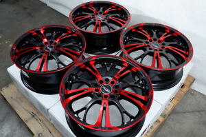 "17"" Wheels Fit Kia Soul Santa Civic Accord Miata  Corolla Camry Black Red Rims"