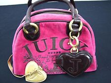 Juicy Couture Handbag Party Le Francais Pink Velour Dark Brown Leather Satchel