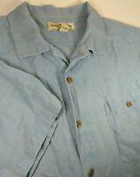 Tommy Bahama Silk Blend Blue Floral Button Short Sleeve Shirt Mens Large L