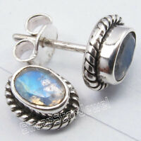 "Oval Shape 4 x 6 mm RAINBOW MOONSTONE Studs Earrings 0.4"" 925 Fine Silver Solid"