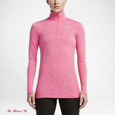 Nike Dri-FIT Knit Half-Zip Women's Top L Shirt Pink Gym Casual Training New