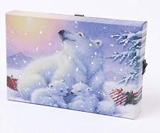 Pequeño Navidad festiva LIGHT UP LED Lona/imagen oso polar y de los Cachorros 15x10cm