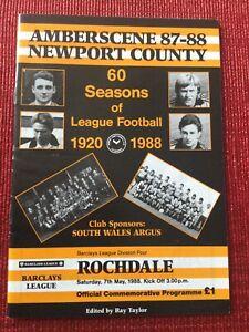 Newport County v Rochdale Programme 7/5/1988, NEWPORT's LAST LEAGUE GAME