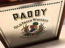 Rare Vtg Paddy Old Irish Whiskey Bar Mirror Sign Cork Distilleries Co. 9�x10.5�