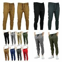 Men's Slim Long Straight Leg Trousers Casual Pencil Jogger Cargo Chino Pants